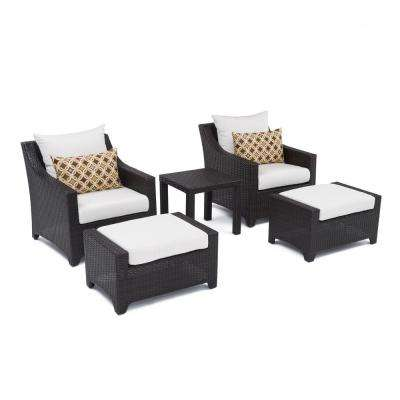 Deco 5-Piece Patio Club Chair and Ottoman Set with Moroccan Cream Cushions