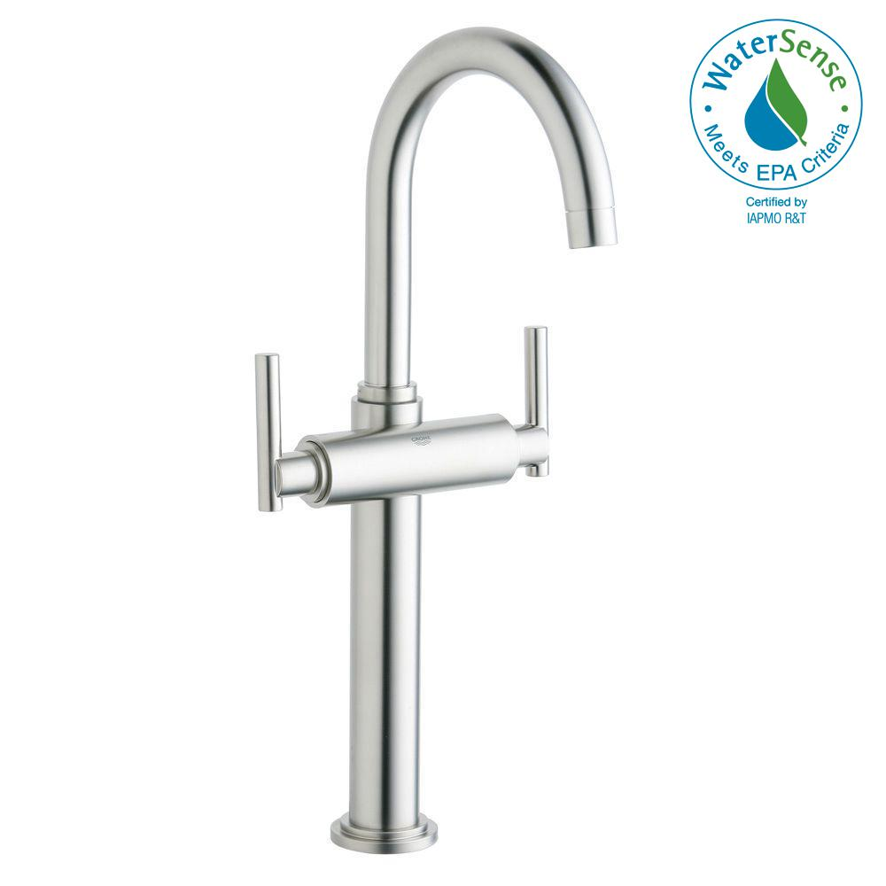 GROHE Atrio Single Hole 2 Handle Vessel Bathroom Faucet In Brushed Nickel  InfinityFinish (Handles