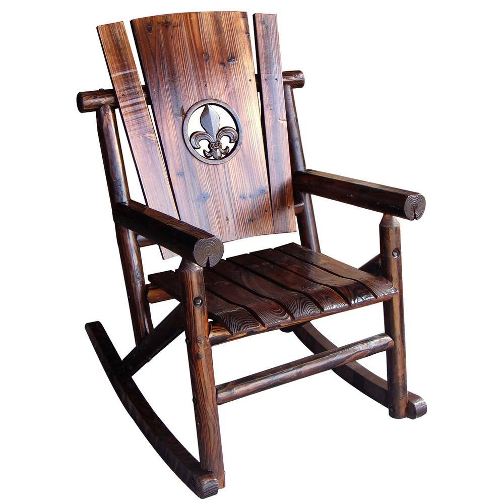 Merveilleux Leigh Country Char Log Patio Rocking Chair With Fleur De Lis