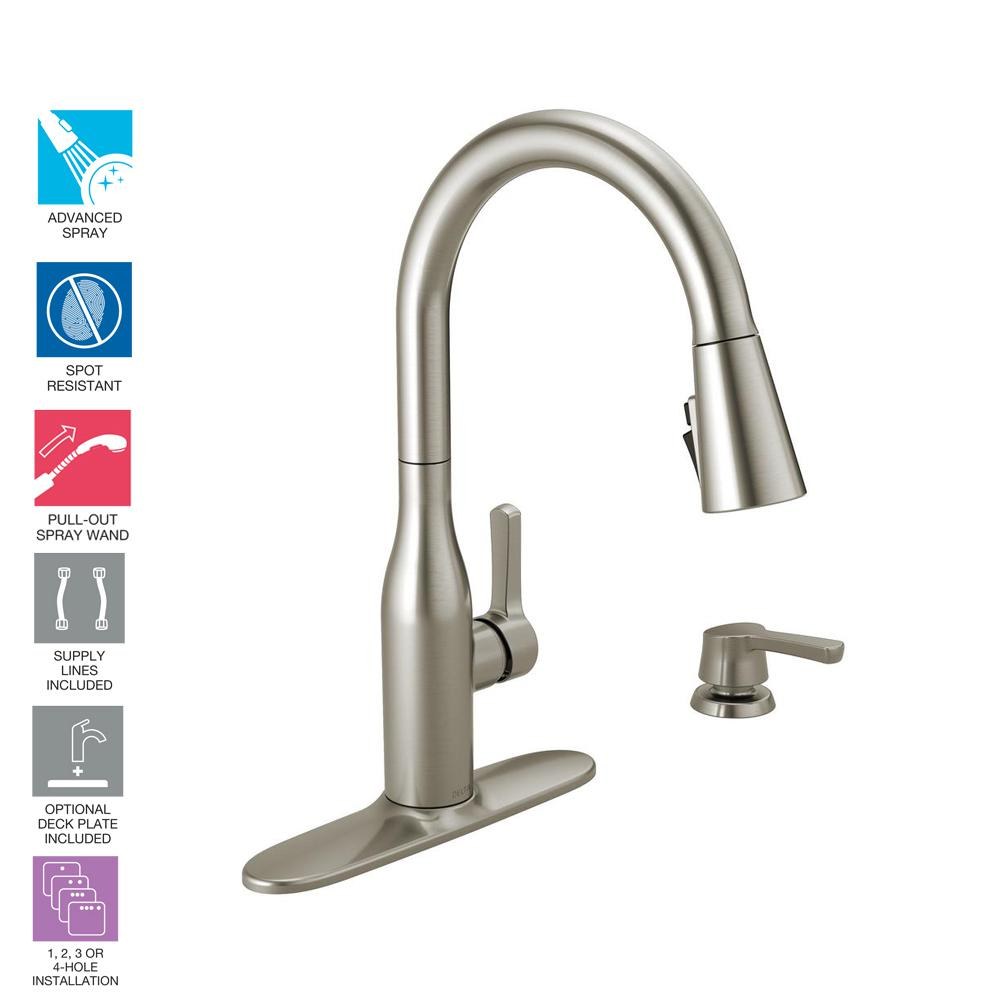 Delta Marca Single Handle Pull Down Sprayer Kitchen Faucet With