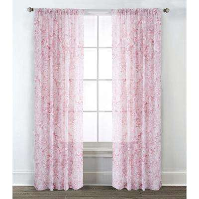Rose 54 in. W x 95 in. L Sheer Window Panel in Blush (2-Pack)