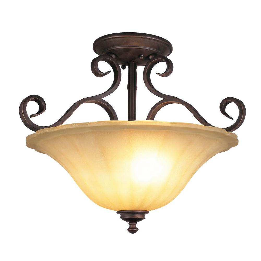Bel Air Lighting Stewart 2-Light Ceiling Rubbed Oil Bronze Incandescent Semi Flush Mount