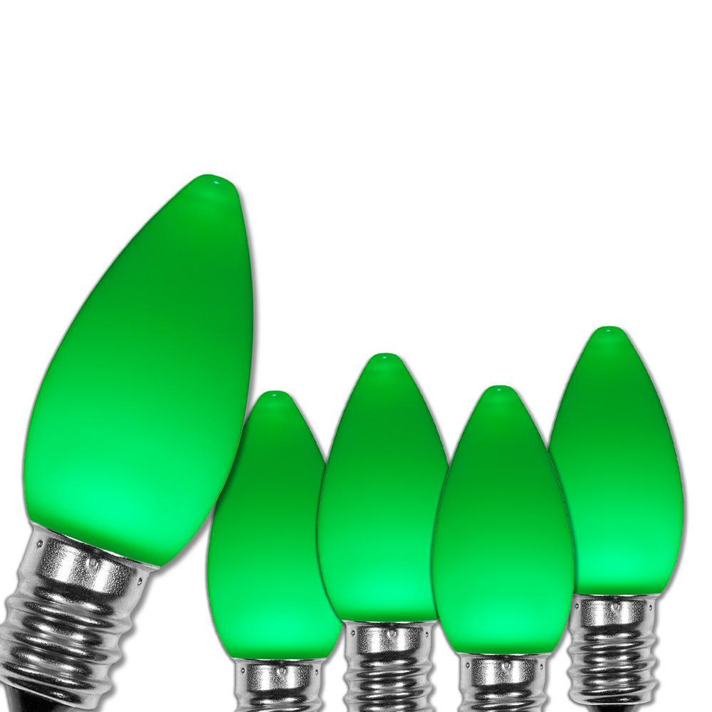 C7 LED Green Smooth/Opaque Christmas Light Bulbs (25-Pack)