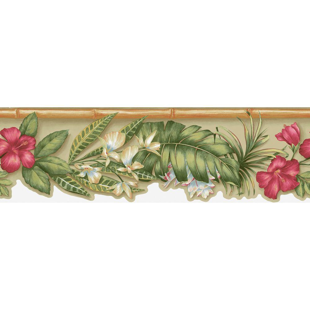 The Wallpaper Company 6.83 in. x 15 ft. Beige Tropical Flower Die Cut Border-DISCONTINUED