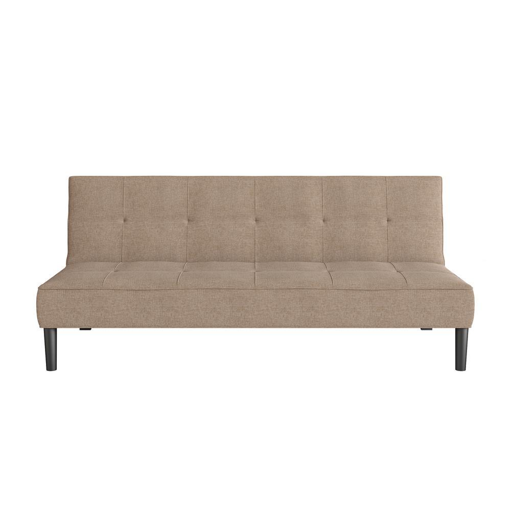 CorLiving Yorkton Cinnamon Beige Convertible Futon Sofa Bed with Textured