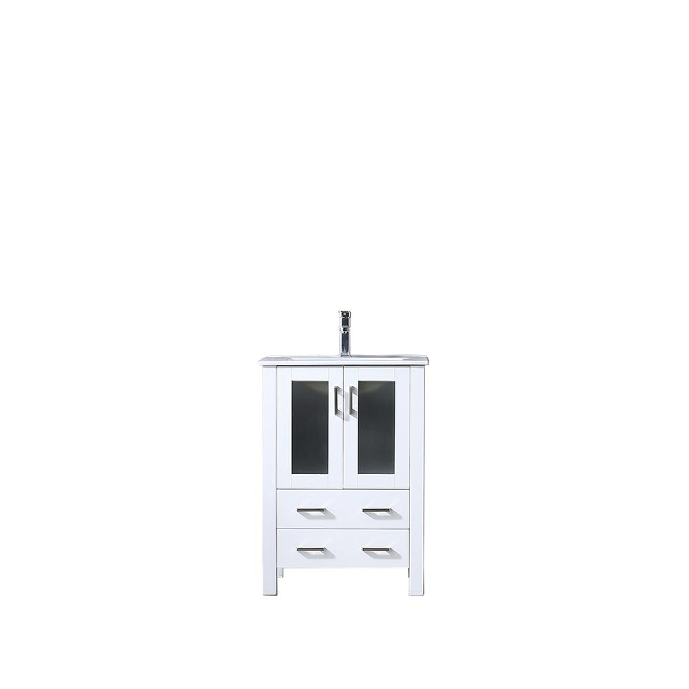 Lexora Volez 24 in. Single Vanity White, Integrated Ceramic Top, White Integrated Square Sink and no Mirror