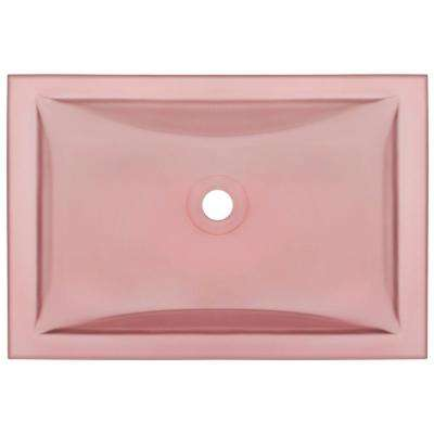 Undermount Glass Bathroom Sink in Coral