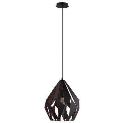 Carlton 1 Black and Copper Pendant Light