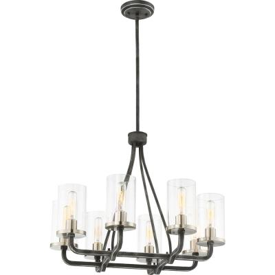 8-Light Iron Black Chandelier with Clear Glass Shade