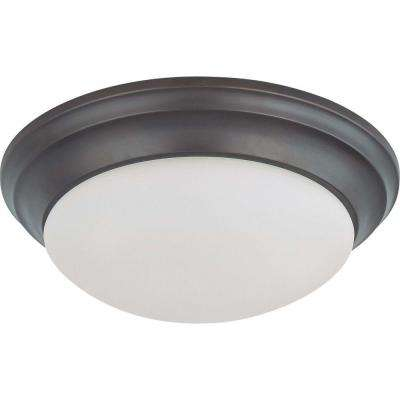 2-Light Mahogany Bronze Flush Mount Twist and Lock with Frosted White Glass