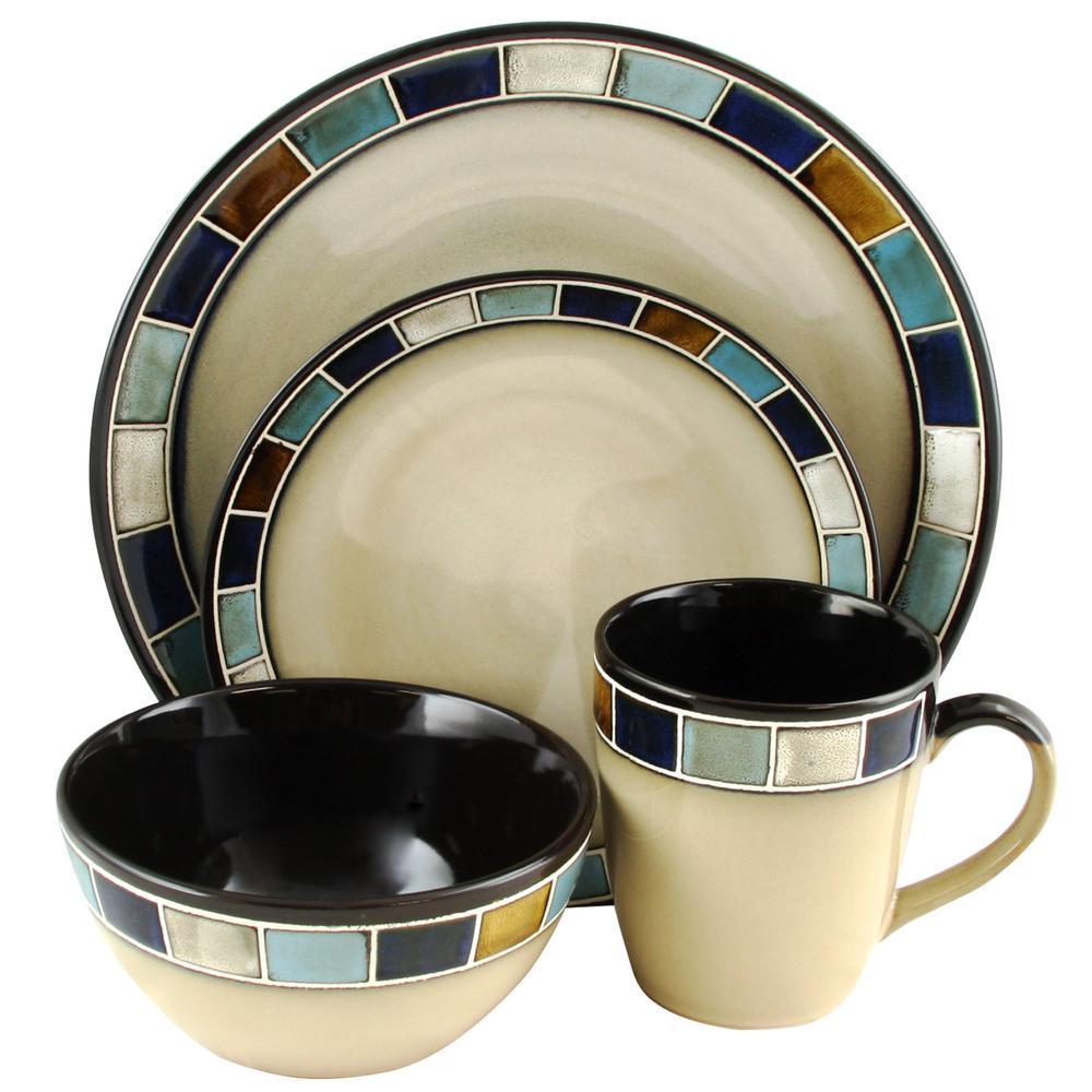 Casa Estebana 16-Piece Blue and Cream Dinnerware Set
