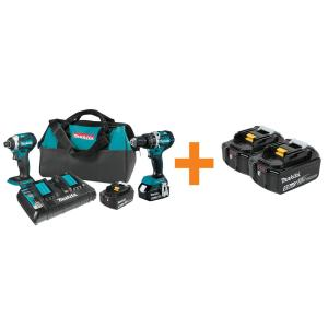 Makita 18V LXT Lithium-ion Brushless Cordless 2-piece Combo Kit Hammer Drill/ Impact Driver w/ Bonus 18-Volt... by Makita