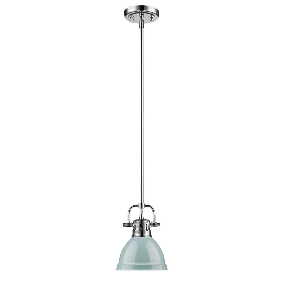 Duncan 1-Light Chrome Mini Pendant with Sea Foam Shade