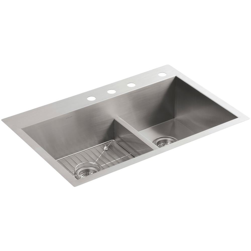 Vault Smart Divide Dual Mount Stainless Steel 33 in. 4-Hole Double