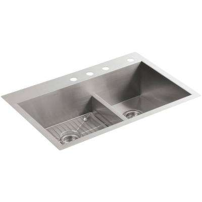 Vault Smart Divide Drop-In/Undermount Stainless Steel 33 in. 4-Hole 60/40 Double Bowl Kitchen Sink Kit