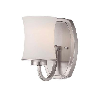 Chaplinne 1-Light Satin Nickel Sconce with Frosted White Shade