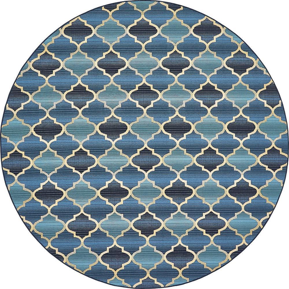 Unique loom outdoor blue 8 x 8 round indoor outdoor rug