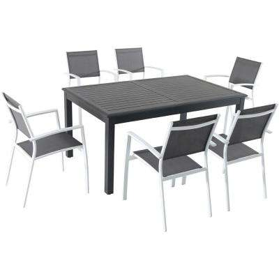 Turner 7-Piece Aluminum Outdoor Dining Set with 6-Sling Dining Chairs and a 40 in. x 94 in. Table