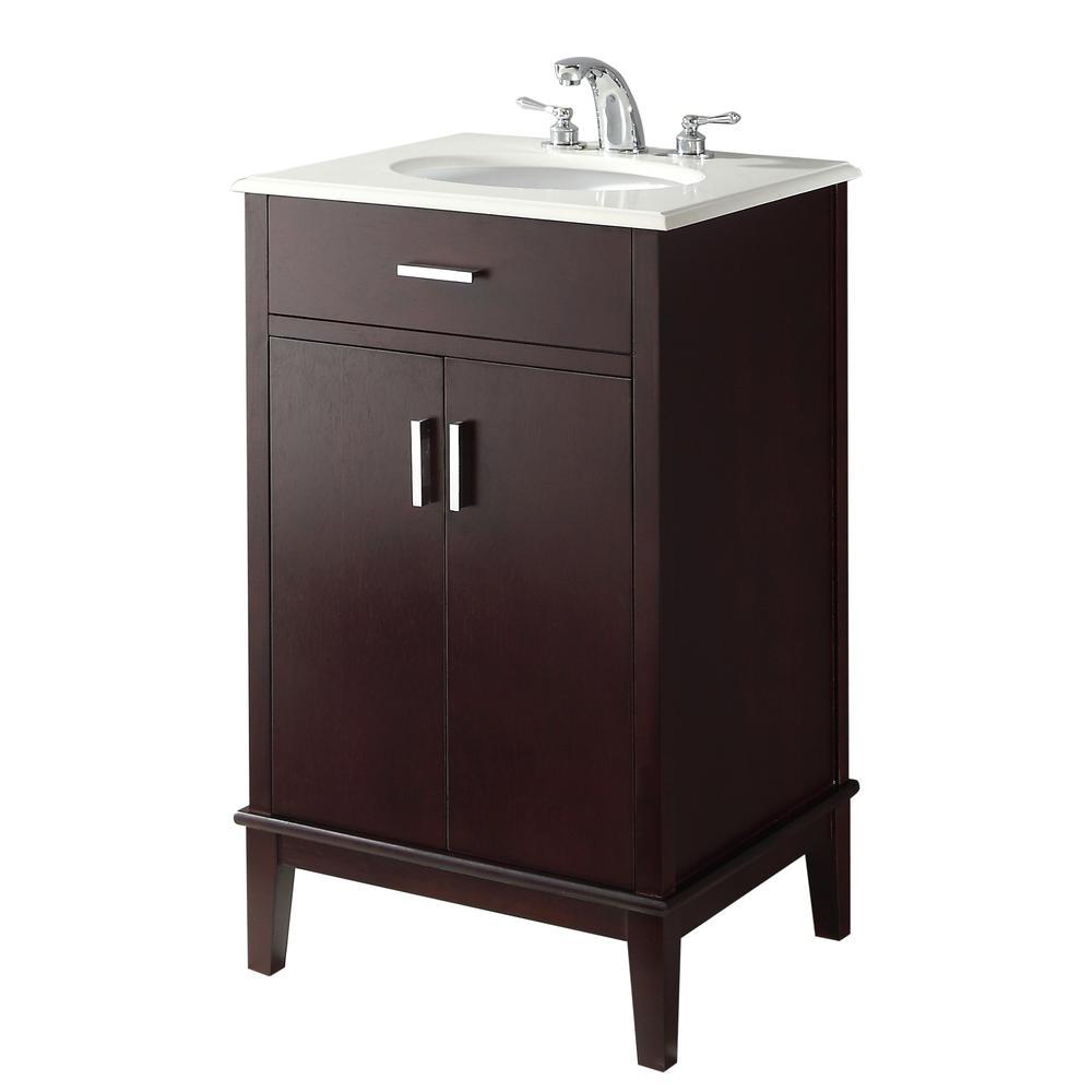Urban Loft 20 in. Bath Vanity in Dark Espresso Brown with Quartz Marble Vanity Top in Bombay White with White Basin
