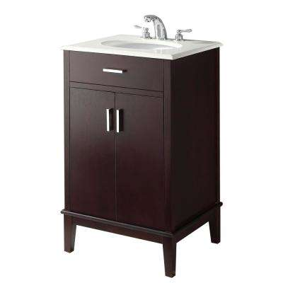 Urban Loft 20 in. Bath Vanity in Dark Espresso Brown with Quartz Marble Vanity Top in Bombay White with White Basin