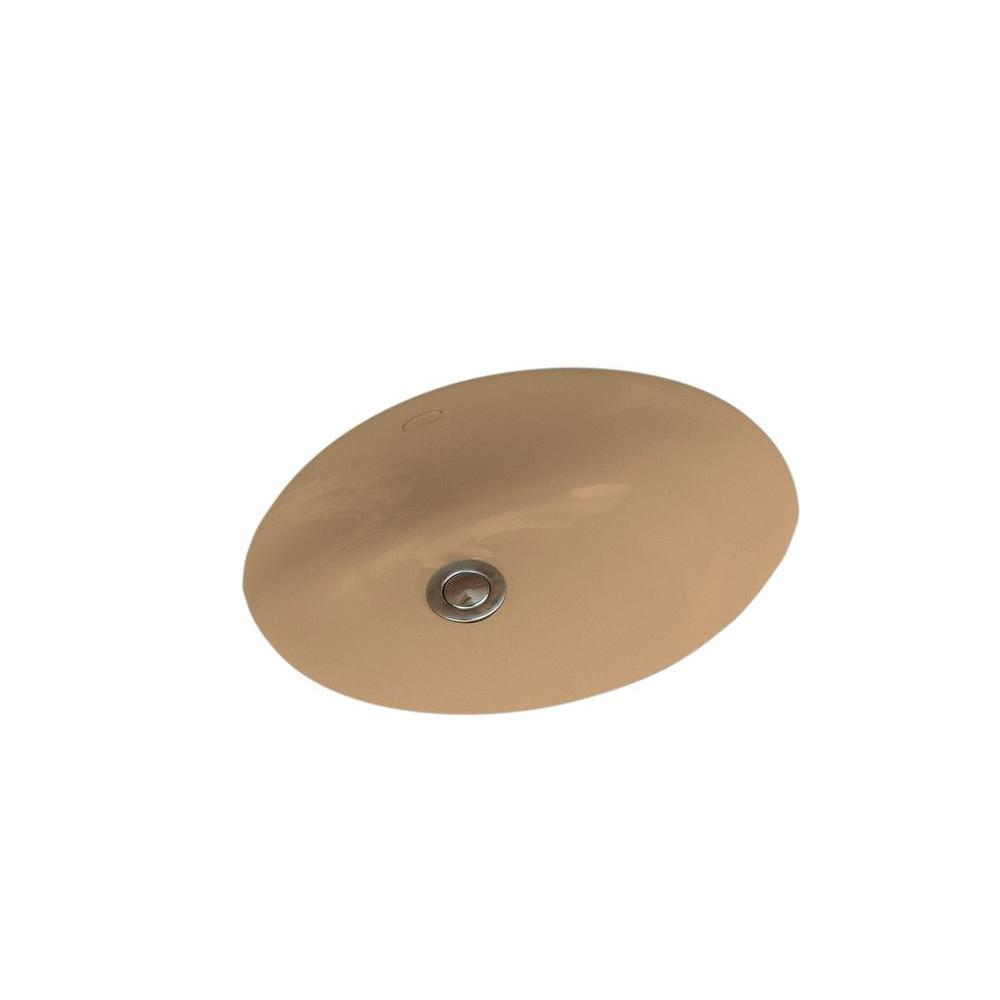 Caxton Vitreous China Undermount Bathroom Sink in Mexican Sand with Overflow