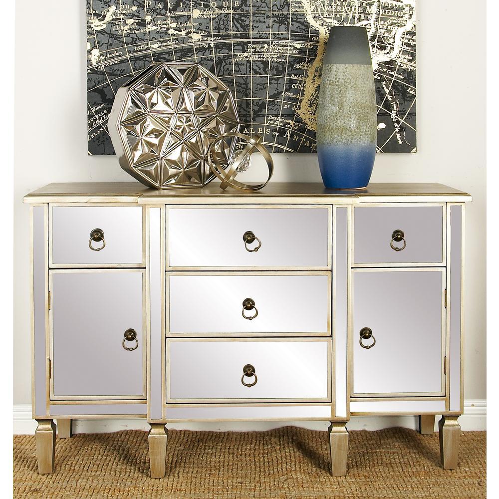 Light Beige Modern Wooden Mirror Cabinet