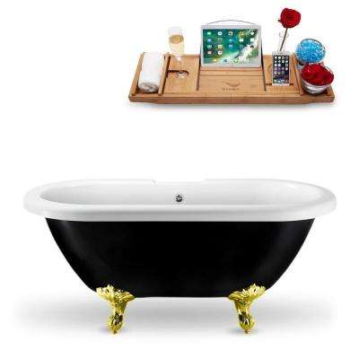 59.1 in. Acrylic Fiberglass Clawfoot Non-Whirlpool Bathtub in Black