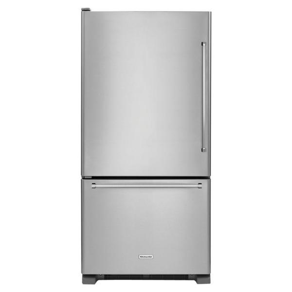 Kitchenaid 22 Cu Ft Bottom Freezer Refrigerator In Stainless Steel Krbl102ess The Home Depot