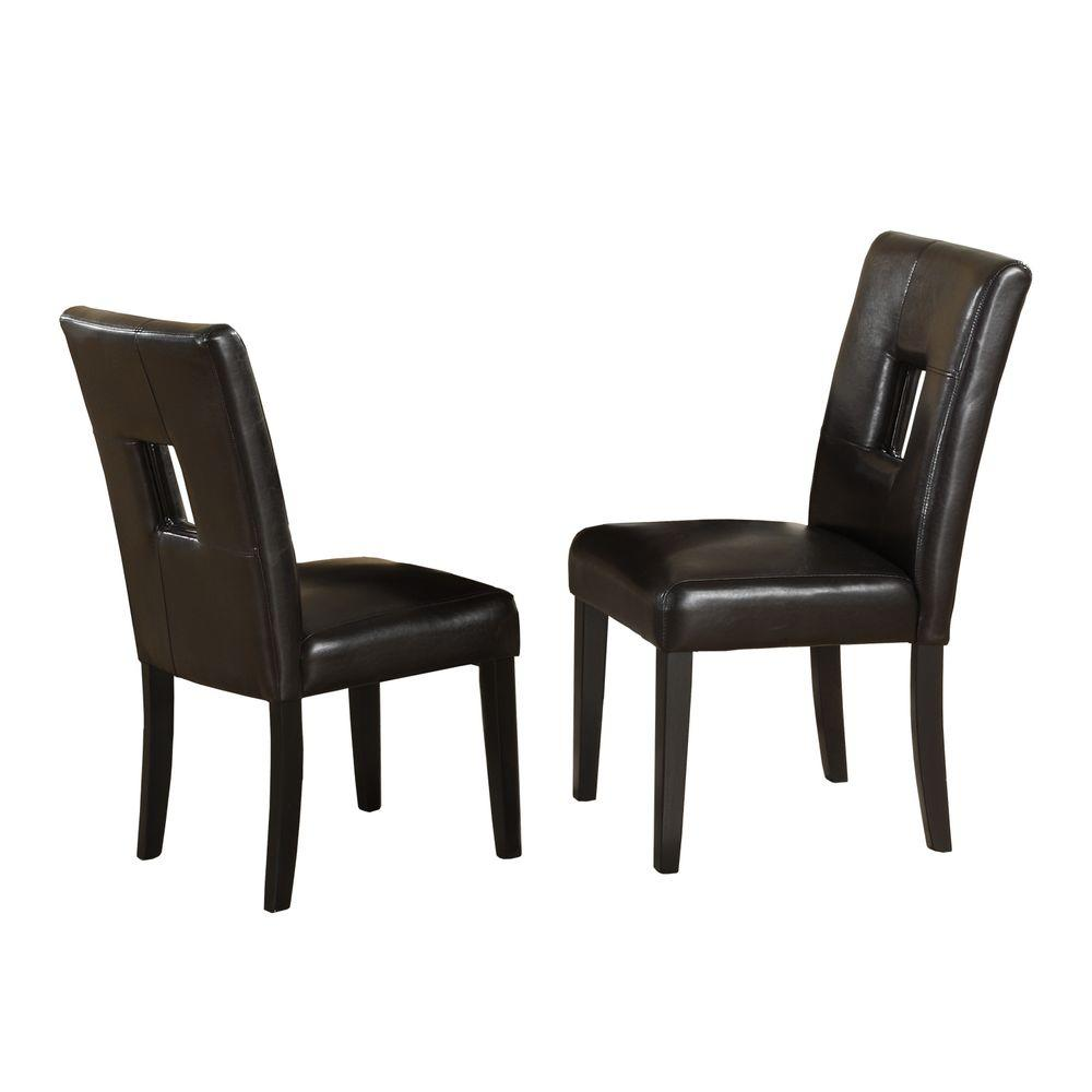 HomeSullivan Sorrento Faux Leather Side Chairs in Black