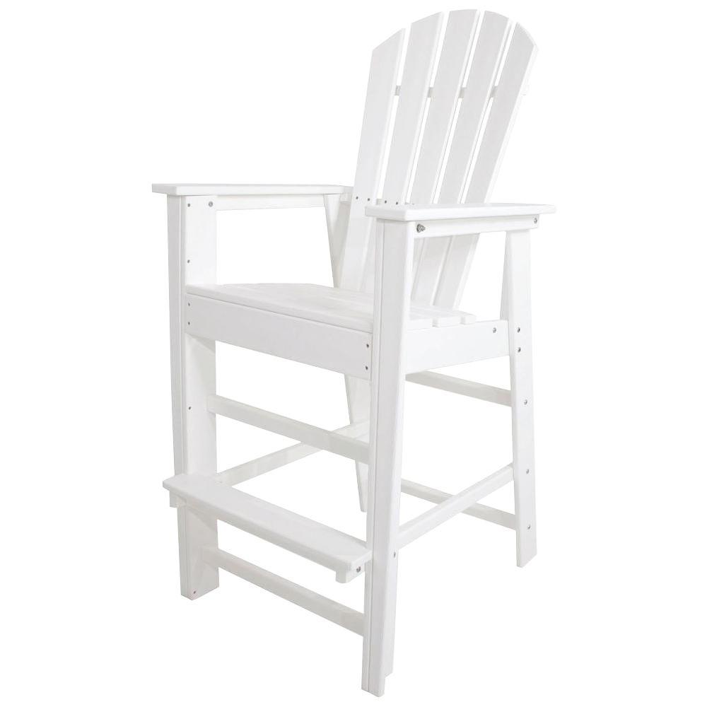 POLYWOOD South Beach White Plastic Outdoor Patio Bar Chair-SBD30WH ...