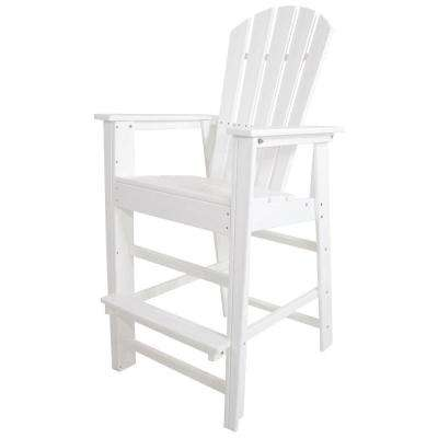 South Beach White Plastic Outdoor Patio Bar Chair