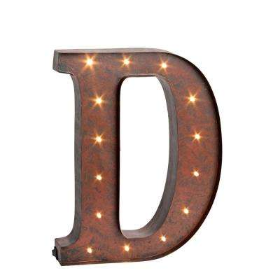 """12 in. H """"D"""" Rustic Brown Metal LED Lighted Letter"""