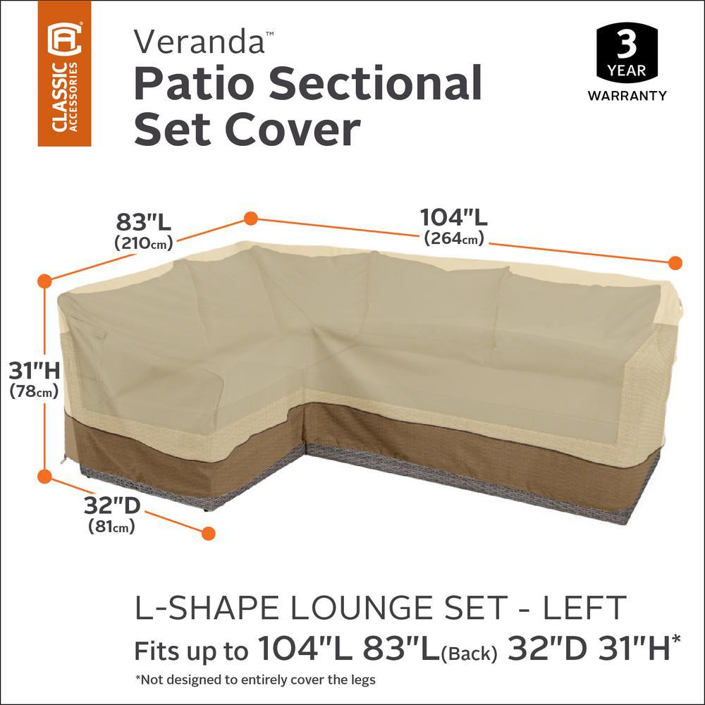 Left Facing Classic Accessories Veranda Patio L-Shaped Sectional Sofa Cover