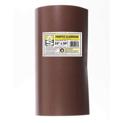 24 in  x 50 ft  Royal Brown over Birch White Aluminum Trim Coil