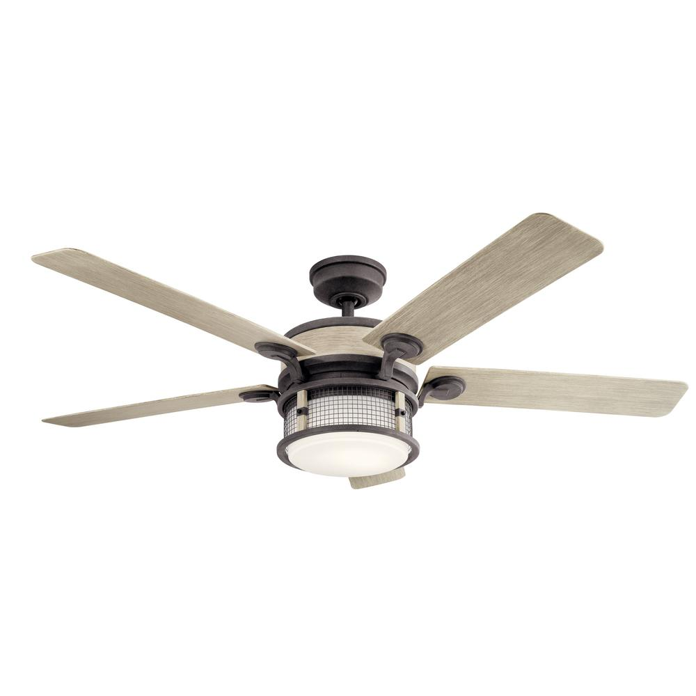 Ahrendale 60 in. Integrated LED Indoor Weathered Zinc Downrod Mount Ceiling Fan with Light Kit and Wall Control
