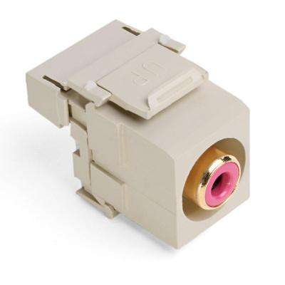 QuickPort RCA 110-Type Connector with Red Barrel, Ivory
