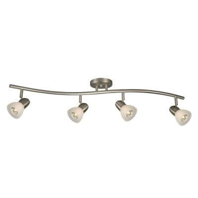 Negron 4-Light Brushed Nickel Track Lighting Wave Bar with Directional Heads