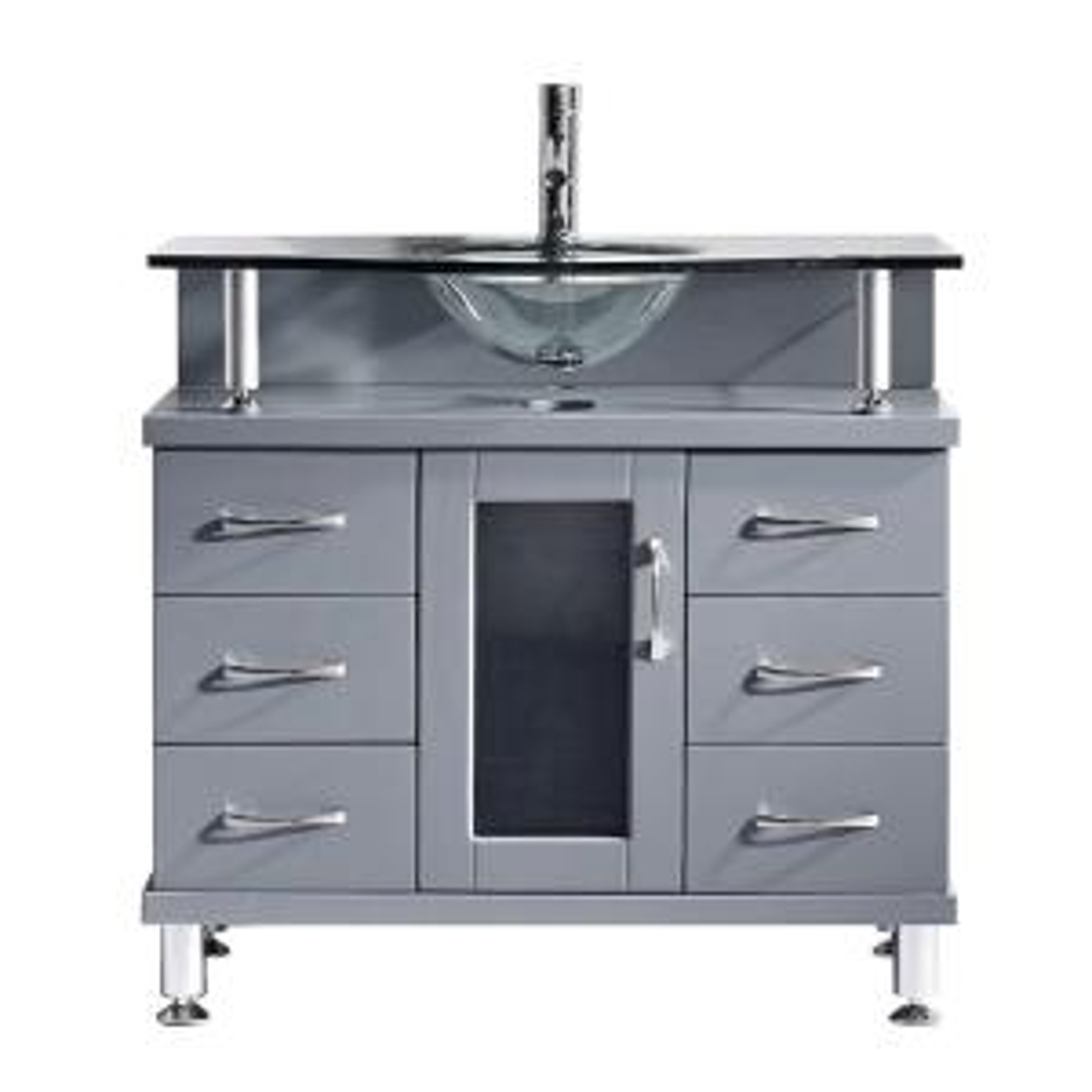 Virtu USA Vincente 35.83 inch W x 21.65 inch D x 33.54 inch H Grey Vanity With Glass... by Virtu USA