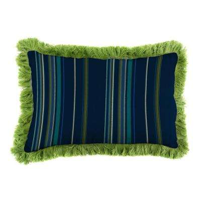Sunbrella 19 in. x 12 in. Stanton Lagoon Outdoor Throw Pillow with Gingko Fringe