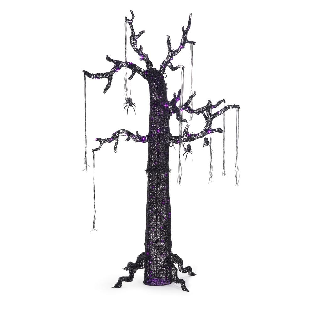 84 in. Halloween Scary Ghost Tree with Purple Lights