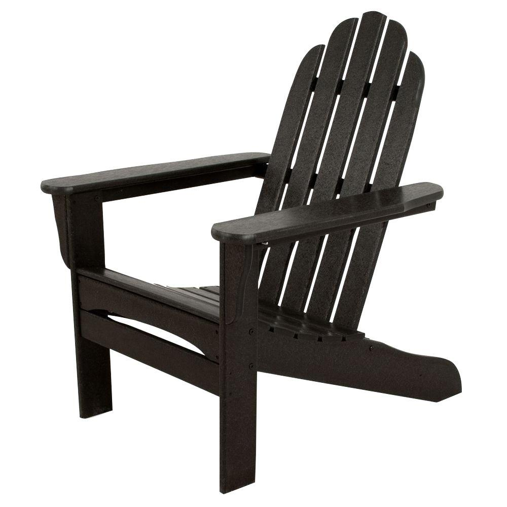 Ivy Terrace Classics Black Plastic Patio Adirondack Chair