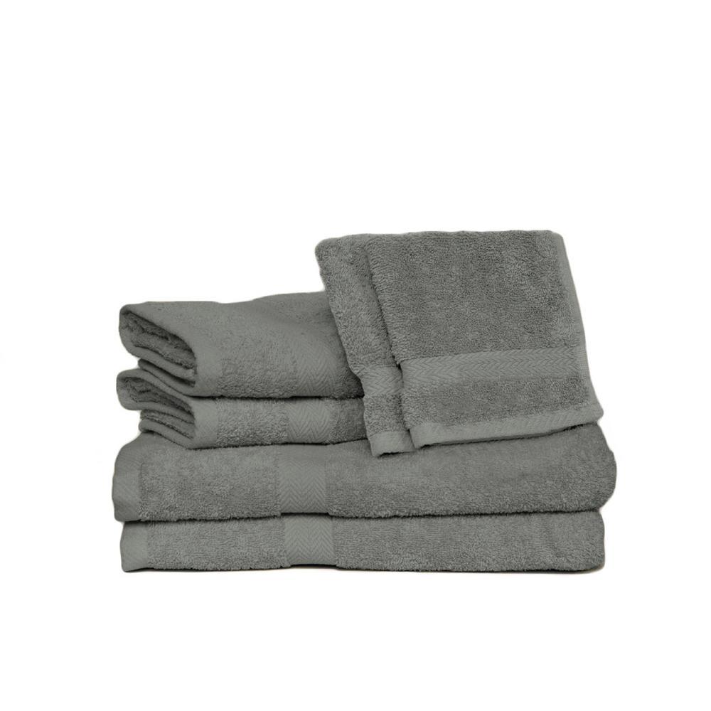 Espalma Deluxe 6-Piece Cotton Terry Bath Towel Set in Pearl Gray
