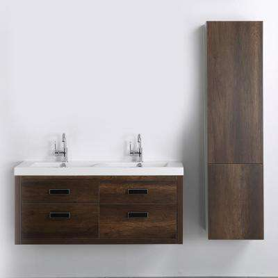47.2 in. W x 19.4 in. H Bath Vanity in Brown with Resin Vanity Top in White with White Basin
