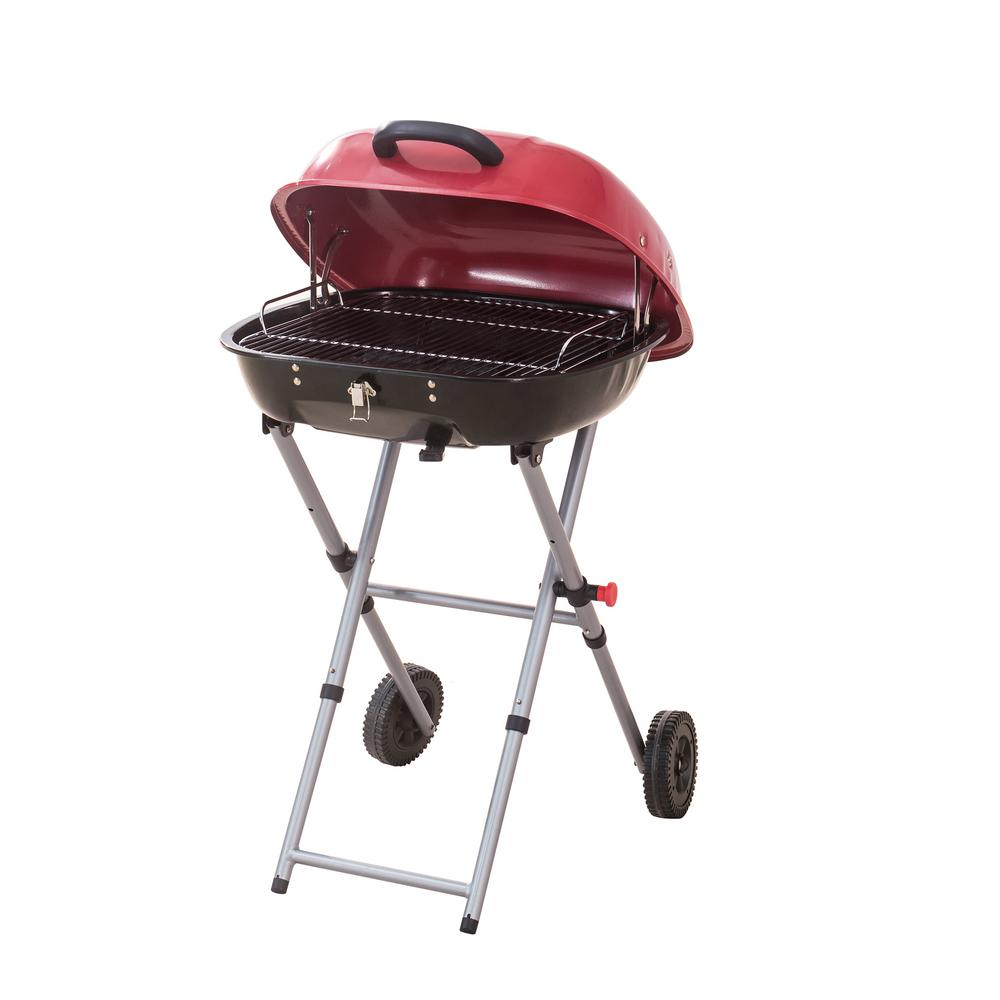 Unbranded Portable Charcoal Grill in Red with Charcoal Tray and Grate