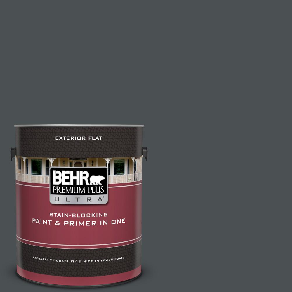 BEHR Premium Plus Ultra 1 gal. #PPU18-01 Cracked Pepper Flat Exterior Paint and Primer in One