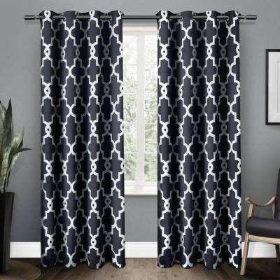 Ironwork 52 in. W x 96 in. L Woven Blackout Grommet Top Curtain Panel in Peacoat Blue (2 Panels)