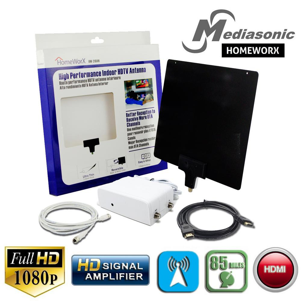 VHF Mediasonic HD TV Antenna Support 1080P 4K UHF HW-210AN 35 Mile Range High Performance Indoor HDTV Antenna