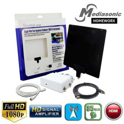HOMEWORX Indoor HDTV Flat Antenna Bundled with Digital Signal Amplifier and High-Speed HDMI Cable upto 85 Miles Range