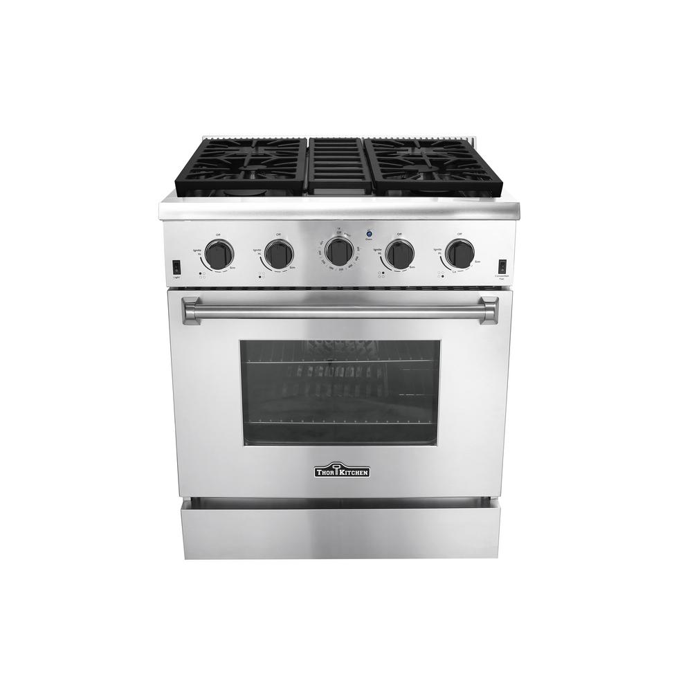 Thor Kitchen 30 in. 4.2 cu. ft. Gas Range in Stainless Steel ...