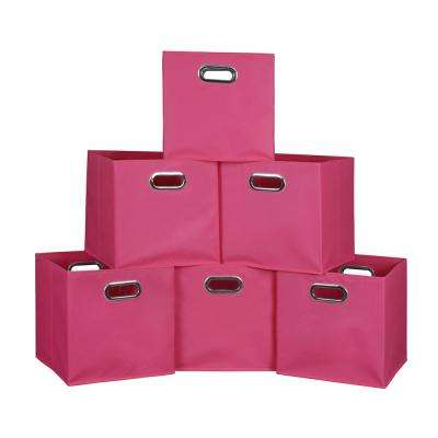 Cubo 12 in. x 12 in. Pink Foldable Fabric Bin (6-Pack)